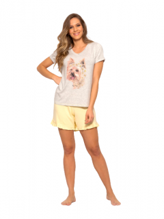 Pijama Short Doll Cachorrinho e Margaridas