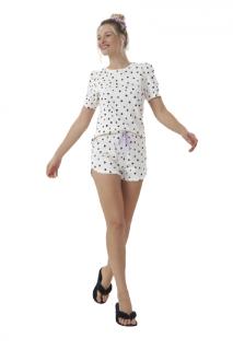 Pijama Short Doll Bolinhas Preto e Branco