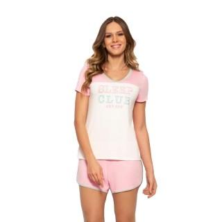 Pijama Feminino Short Doll Rosa Confortável Anyany