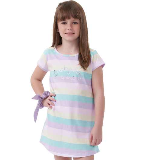Camisola Feminina Infantil Listrada Colorida