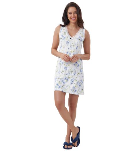 Camisola Regata Flores Azuis - Cor Com Amor