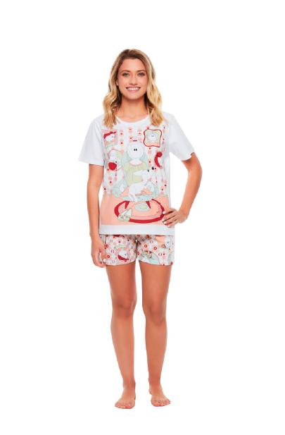Pijama Com Camisete Colorido Sonhart