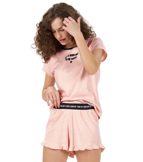 """Pijama Feminina Short Doll """"Today is A Good Day"""" Cor Com Amor"""
