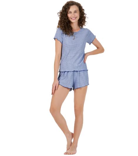 Pijama Feminino Curto Manga Curta Azul Neon Cor Com Amor