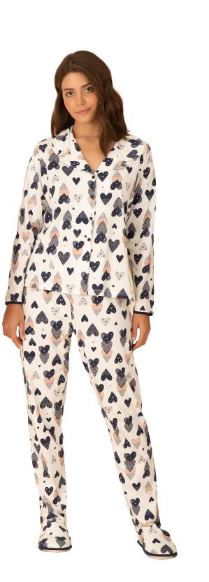 Pijama Feminino Inverno Abertura de Botões Corações Pzama