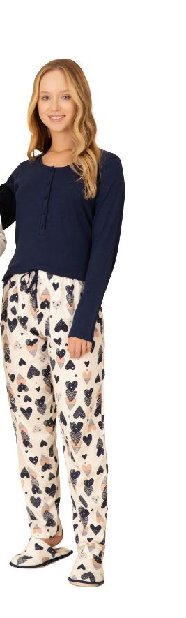 Pijama Feminino Inverno Azul e Corações Pzama