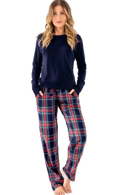Pijama Feminino Inverno Azul e Xadrez MIXTE