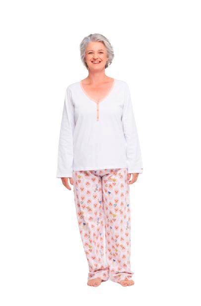 Pijama Feminino Inverno Branco Sonhart 100% Original
