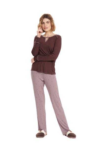 Pijama Feminino Inverno Brownie Cor Com Amor