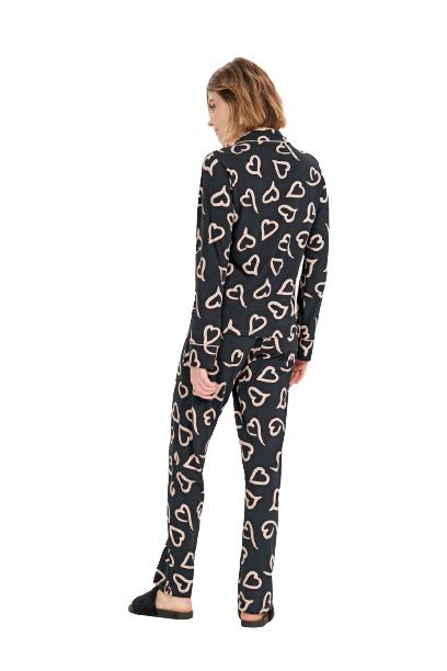 Pijama Feminino Inverno c/ Abertura de Botões Preto Cor Com Amor