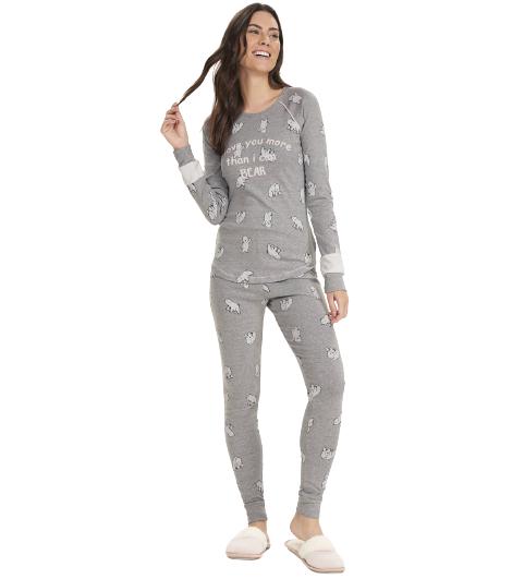 Pijama Feminino Inverno c/ Legging Urso Polar Cor Com Amor