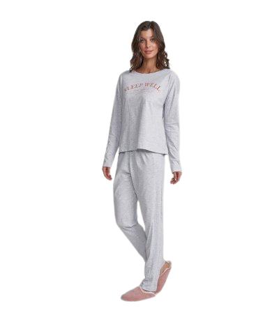 Pijama Feminino Inverno Cinza e Jasmin Cor Com Amor