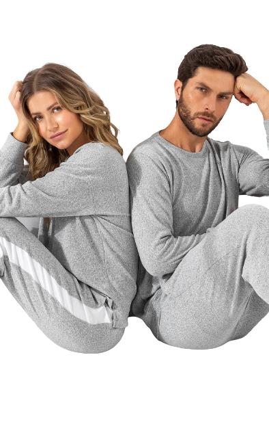 Pijama Feminino Inverno com Peitilho Mescla MIXTE