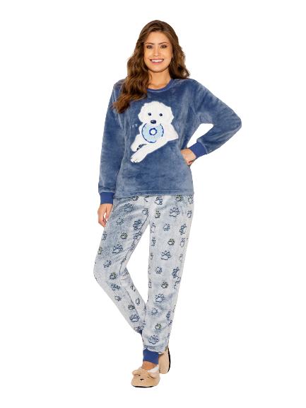 Pijama Feminino Inverno Fleece Azul Dog AnyAny