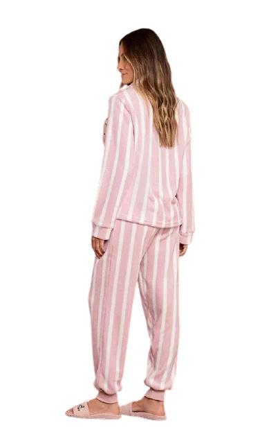 Pijama Feminino Inverno Fleece c/ Abertura Listras Rosa Lua Luá