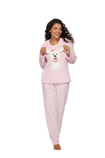 Pijama Feminino Inverno Fleece Coelhinho Recco