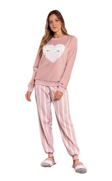 Pijama Feminino Inverno Fleece Coração Lua Luá TAMANHO: M