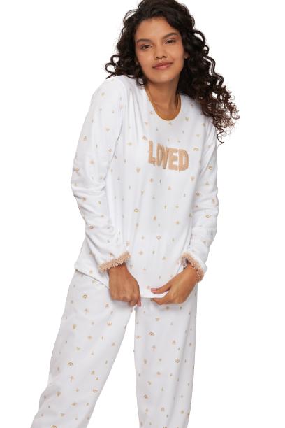 "Pijama Feminino Inverno Fleece ""Loved"" Recco"