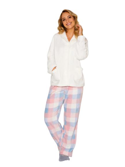 Pijama Feminino Inverno Fleece Xadrez Azul e Rosa AnyAny