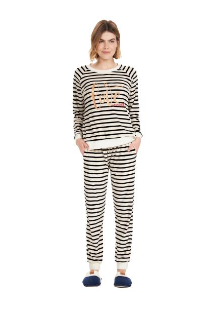 Pijama Feminino Inverno Listrado Soft Cor Com Amor