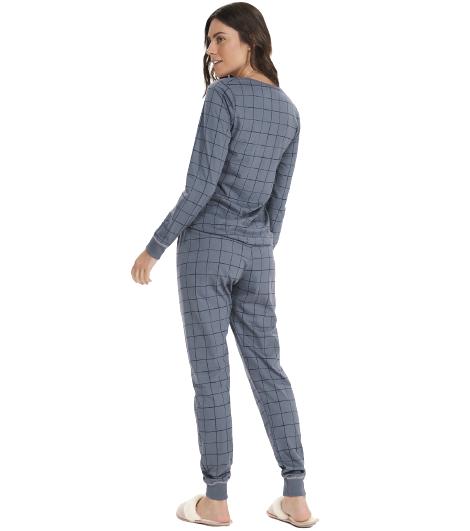 Pijama Feminino Inverno Mãe e Filha Azul Xadrez Cor Com Amor