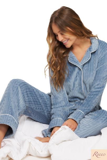 Pijama Feminino Inverno Prime Azul Celestial Recco