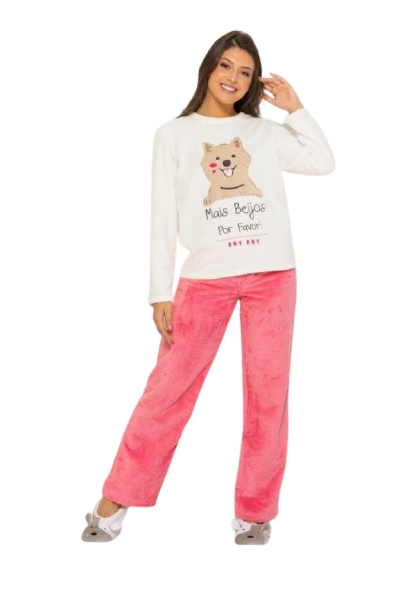 Pijama Feminino Inverno Soft Fleece Ursinho AnyAny
