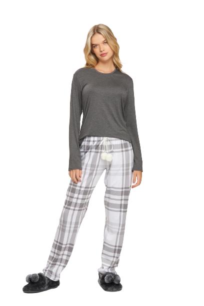 Pijama Feminino Inverno Xadrez Mãe e Filha Recco