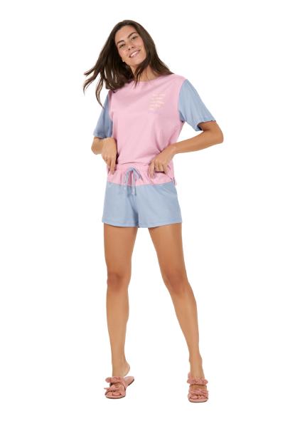 Pijama Feminino Manga Curta Verão Glacial Barbie Cor Com Amor