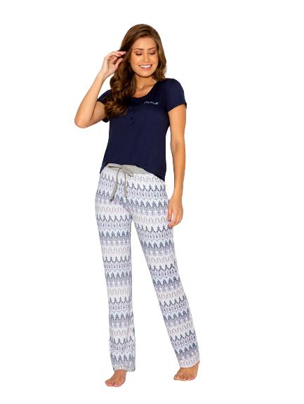 Pijama Feminino Outono Azul Marinho AnyAny
