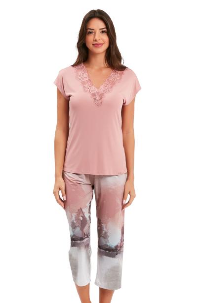 Pijama Feminino Pescador Rosa Clássico Recco