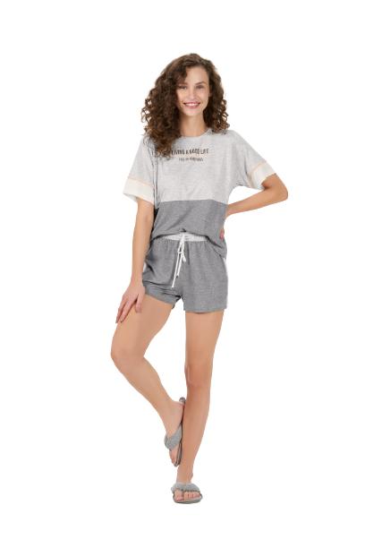 "Pijama Feminino Short Curto Cinza ""Good Vibes"" Cor Com Amor"