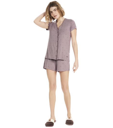 Pijama Feminino Short Doll Abertura de Botões Cor Com Amor