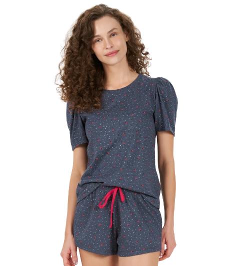 Pijama Feminino Short Doll Azul Joaninhas Cor Com Amor