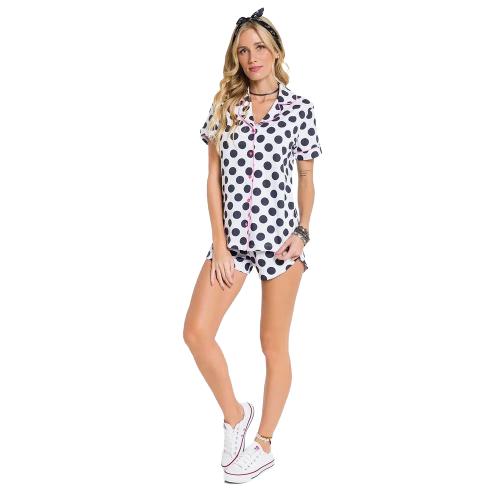 Pijama Feminino Short Doll Bolinhas Abertura c/ Botões VEGGI