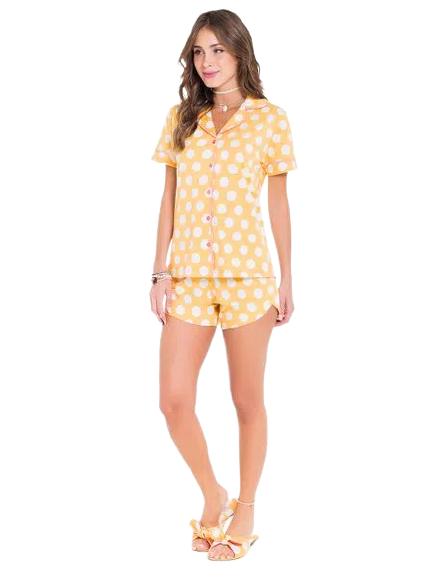 Pijama Feminino Short Doll Bolinhas Amarelos c/ Botões VEGGI