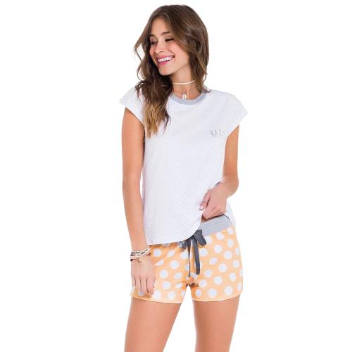 Pijama Feminino Short Doll Bolinhas VEGGI