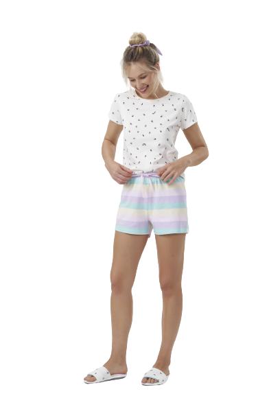 Pijama Feminino Short Doll Joaninhas Cor com Amor