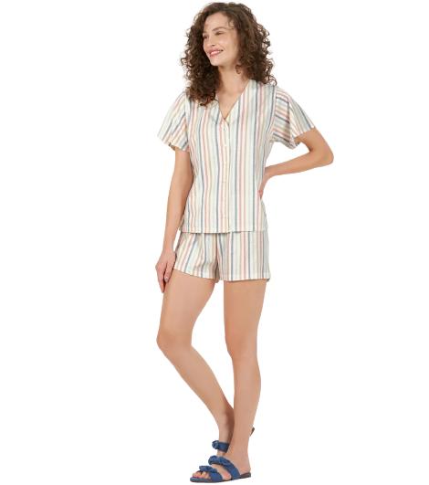 Pijama Feminino Short Doll Listras Arco Íris Cor Com Amor