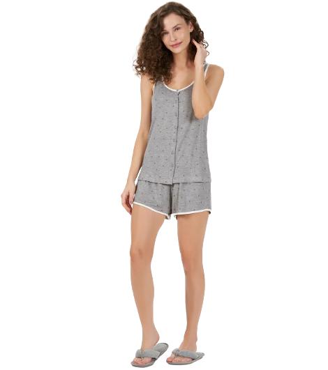 Pijama Feminino Short Doll Regata C/ Abertura de Botões Mescla Cor Com Amor