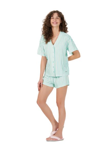 Pijama Feminino ShortDoll c/ Abertura de Botões Verde Cor Com Amor