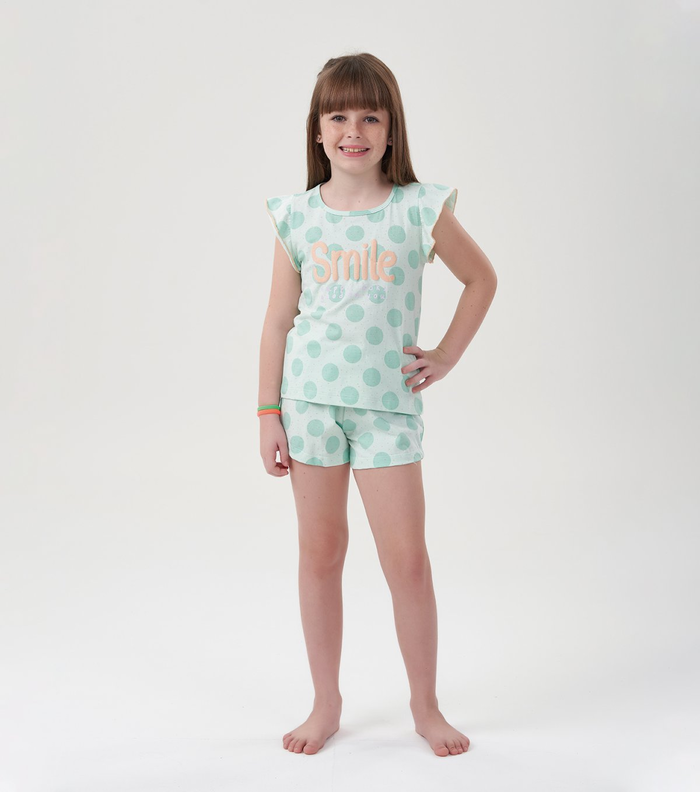 """Pijama Menina Infantil """"Smile"""" (Sorria)"""