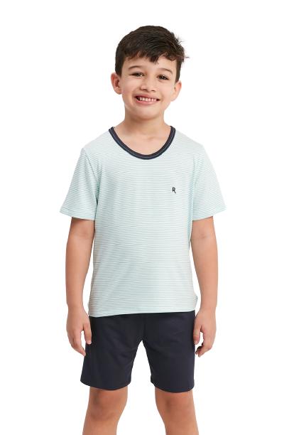 Pijama Menino Infantil Listrado Azul Recco