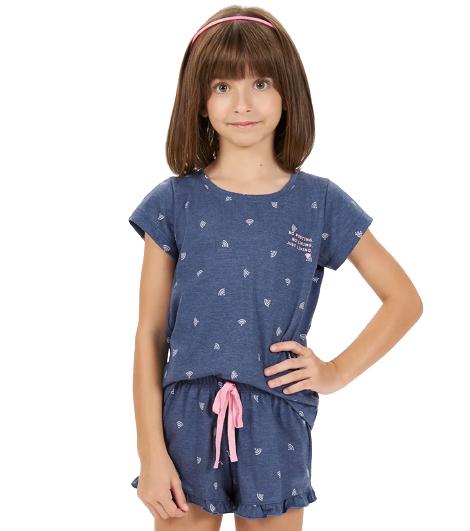 Pijama Infantil Menina Calor Verão Wi-fi Cor Com Amor