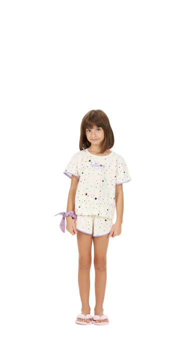 Pijama Infantil Menina Curto Mãe e Filha Estrelas Cor Com Amor