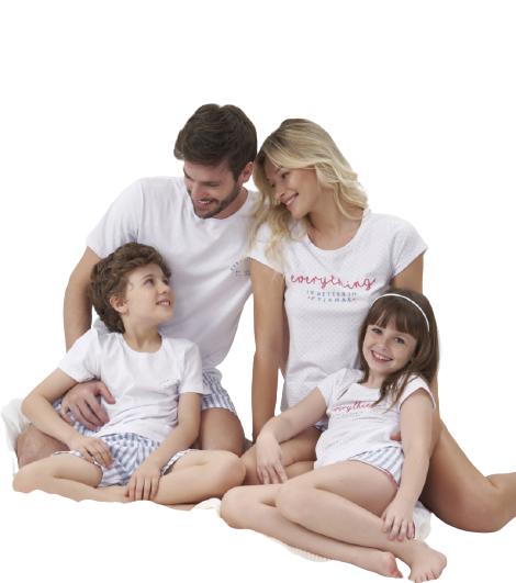 Pijama Infantil Menina Mãe e Filha Família Cor com Amor