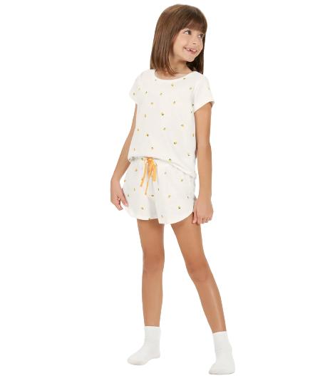 Pijama Infantil Menina Mãe e Filha Laranja Cor Com Amor