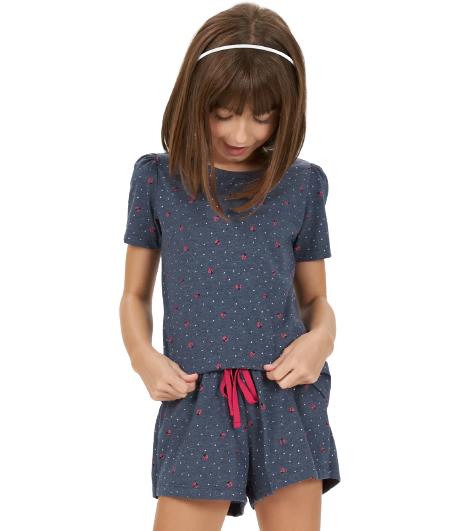 Pijama Infantil Menina Short Doll Joaninha Azul Cor Com Amor