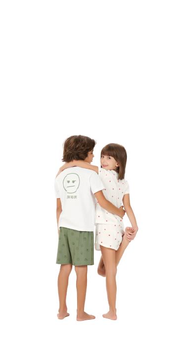 Pijama Infantil Menino Verde e Branco Pai e Filho Cor Com Amor