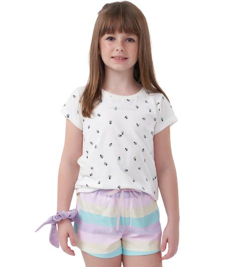 Pijama Menina Infantil Joaninha Colorido